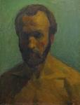 Автопортрет на зеленом фоне